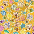 Stock Vector: Seamless sunny background. decor of secreatures, fish and seaweed. symbol of seas and oceans