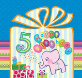 Congratulations for a boy with a 5 year anniversary. Elephant flying hot air balloons — Stock vektor