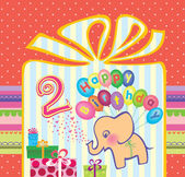 Congratulations to the girls with 2 birthday. Elephant flying hot air balloons — Stock Vector