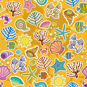 Seamless sunny background. The decor of the sea creatures, fish and seaweed. The symbol of the seas and oceans — Stock Vector