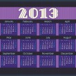 Calendar for 2013. purple stripes inserted into the perforation on the black paper. Week starts on Sunday — Stock Vector