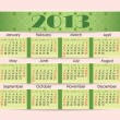 Stock Vector: Calendar for 2013. green strip inserted into perforation on pink paper. Week starts on Sunday