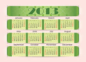 Calendar for 2013. The green strip inserted into the perforation on pink paper. Week starts on Sunday — Stock Vector