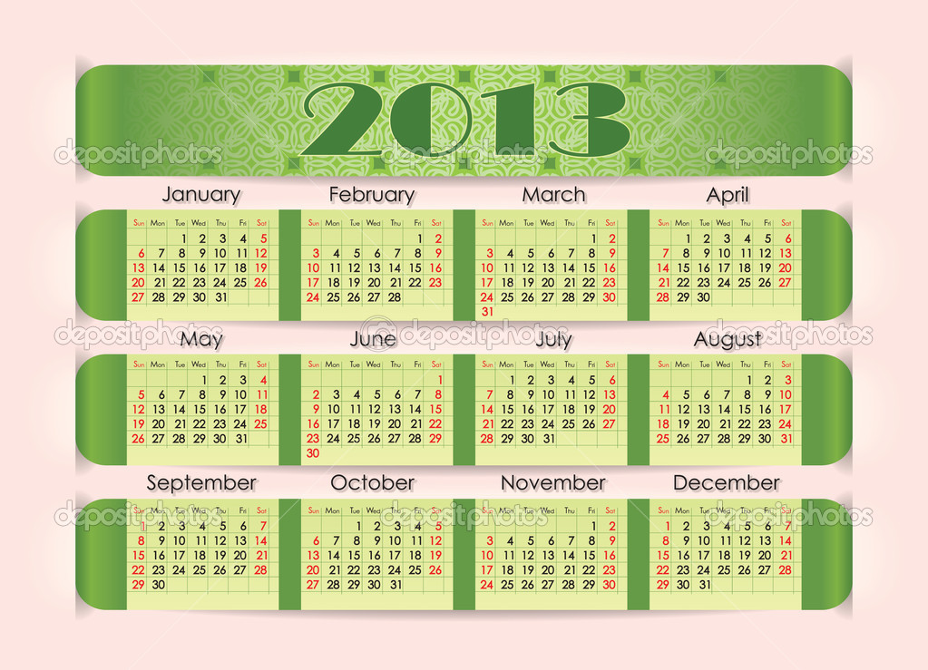 Calendar for 2013. The green strip inserted into the perforation on pink paper. Week starts on Sunday. — Stock Vector #11346672