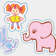 Fun toys in the form of stickers. Red-haired doll, a pink elephant and the hare — Stock Vector