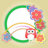 Background with owl, flowers and trees — Stockvector