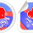 Heart logo I love USA stickers label set — Stock Vector #10792036