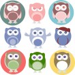 Set of cartoon owls with various emotions — Stock Vector