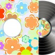 Vinyl disc cover in texture flowers wrapping — Stock Vector