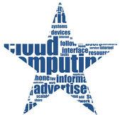 Cloud computing concept abstraits étoiles. isolé sur blanc — Vecteur