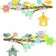 Family of birds sitting on a branch with birdhouses - Stock Vector