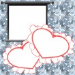 Red Valentine card, holiday background with photo frames — 图库矢量图片