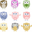 Set of nine cartoon owls with various emotions — Stock Vector #10964075