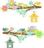 Family of birds sitting on a branch with birdhouses — Stock Vector