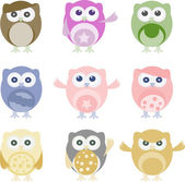 Set of nine cartoon owls with various emotions — Stock Vector