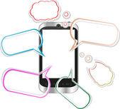 Origami discurso burbujas y iphone - como smartphone — Vector de stock