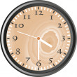 Foto Stock: Wooden wall clock - vector