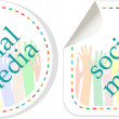 Social media sticker set with hands — Stock Photo