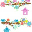 Cards with couples of birds sitting on branches and birdhouses — Vector de stock