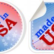 Stock Vector: Stickers label set - made in usa. vector illustration