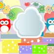 Vector birthday party card with cute owl and birds — стоковый вектор #11369877