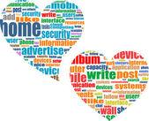 Social media business concept in love heart — Stock Vector
