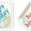 Happy birthday and holidays stickers in form of speech bubbles — Stock Vector #11394085
