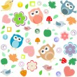 Seamless background with owls, leafs, mushrooms and flowers — Stock Vector