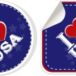 Stickers set - i love USA. Vector illustration — Stock Vector