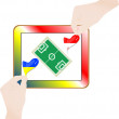 Hands with national flag on computer tablet pc. Vector — Stock Vector