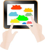 Cloud computing concept. Finger touching cloud on a touch screen — Vector de stock
