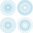 Set of vector guilloche rosettes certificate decorative elements — ストックベクタ