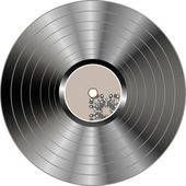 Black vinyl record lp album disc isolated on white — 图库矢量图片