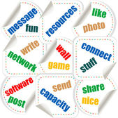 Social media stickers with networking concept words — Stock Vector
