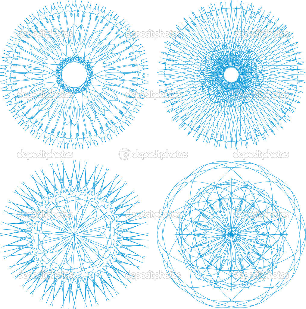 Set of four guilloche rosette. abstract heraldic set — Stock Vector #11644407