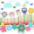 Vector set - owls, birds, flowers, cloud and rainbow — Stock Vector