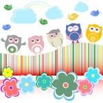 Vector set - owls, birds, flowers, cloud and rainbow — Stock Vector #11650295
