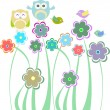 Cute kids background with flowers birds owls — Stock Vector #11651076