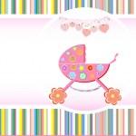 Baby girl announcement card. Vector — Stock Vector