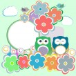 Background with owl, flowers and birds — Stock Vector