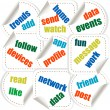Social media concept stickers in word tag cloud — Stock Vector #11651517