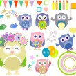 Set of vector birthday party elements with cute owls — Stock Vector