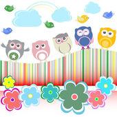 Vector conjunto - búhos, pájaros, flores, nubes y arco iris — Vector de stock
