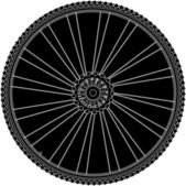 Abstract bike wheel with tire and spokes — Stock Vector