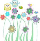Cute kids background with flowers birds owls — Stock Vector