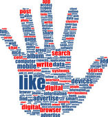 Hands, which is composed of text keywords on social media themes — Stock Vector