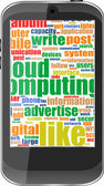 Touchscreen smartphone with social word cloud isolated on white — Stock Vector