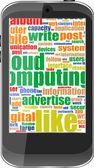 Touchscreen smartphone met sociale word cloud geïsoleerd op wit — Stockvector