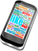 планшетный пк в словах социальных средств массовой информации, компьютерных сетей — Cтоковый вектор