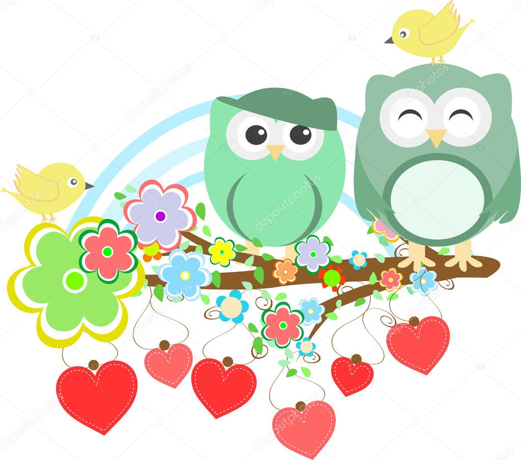 Two cute owls and bird on the flower tree branch — Stock Vector #11652157